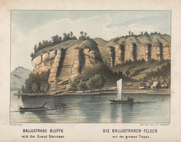 "Ballustrade Bluffs with the Grand Staircase. Henry Lewis. Lith. Jnst. Arnz & Co. Dusseldorf. Multi-stone lithograph, 1854-57. Image 5 3/8 x 7 3/4"" (137 x 196 mm) plus title and margins. Printed by C. H. Muller.  Aachen. LINK."