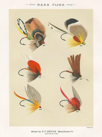 "Bass Flies. Plate X. Cleveland, Cheney, Chippy, Dark Flaggon, Croppie, Barnwell.  From ""Favorite Flies and Their Histories,"" by Mary Orvis Marbury. ""M. Bradley Co. Lith."" Text with print. Chromolithograph, 1892. Image size 6 3/8 x 4 9/16"" (162 x 116 mm). LINK."
