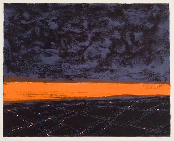 """Last Light. Richard Florsheim. Color lithograph, 1962. Image size 13 15/16 x 17 7/8"""" (353 x 454 mm). Edition 50. LINK."""