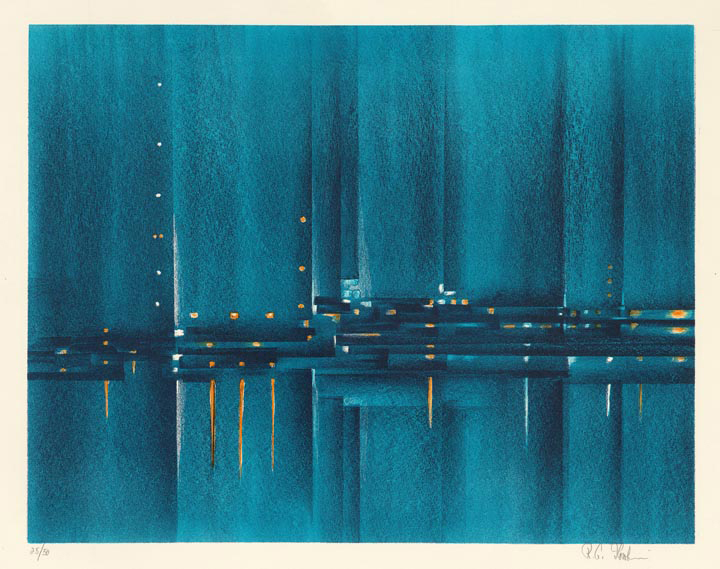 "Night Harbor. Richard Florsheim. Color lithograph, 1962. Image size 13 15/16 x 17 7/8"" (353 x 454 mm). Edition 50. LINK."
