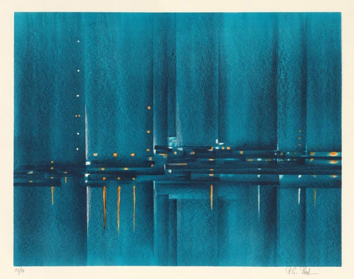 "Night Harbor. Richard Florsheim. Color lithograph, 1962. Image size 13 15/16 x 17 7/8"" (353 x 454 mm). Edition 50. LINK."