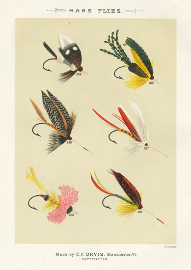 "Bass Flies. Plate BB. Marston, Manchester, Horicon, Lake George, Max Von Dem Borne, Munro. From ""Favorite Flies and Their Histories,"" by Mary Orvis Marbury. ""M. Bradley Co. Lith."" Text with print. Chromolithograph, 1892. Text with print. Image size 6 3/8 x 4 9/16"" (162 x 116 mm). LINK."