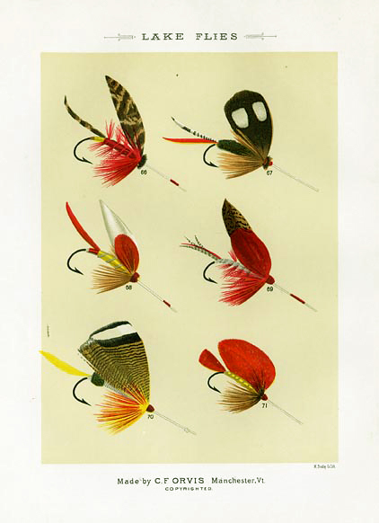 "Lake Flies. Plate J. Oquossoc, Klamath, no name, New Lake, Tomah Jo., Prince Island. From ""Favorite Flies and Their Histories,"" by Mary Orvis Marbury. ""M. Bradley Co. Lith."" Text with print. Chromolithograph, 1892. Image size 6 3/8 x 4 9/16"" (162 x 116 mm). LINK."