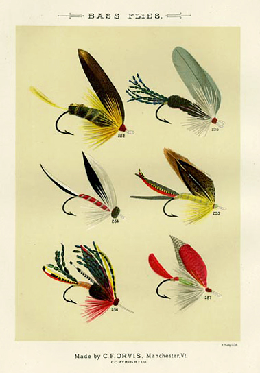 "Bass Flies. Plate Z. Golden Dustman; Henshall; Knight Templar; Jungle Cock; Holberton; Holberton II. From ""Favorite Flies and Their Histories,"" by Mary Orvis Marbury. ""M. Bradley Co. Lith."" Text with print. Chromolithograph, 1892. Text with print. Image size 6 3/8 x 4 9/16"" (162 x 116 mm). LINK."