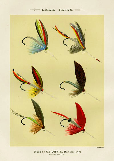 "Lake Flies. Plate K. Silver Doctor, H.P. Wells Pattern; Silver Doctor J. G. Shearer's Pattern; Silver Doctor, C. F. Orvis's Pattern; Spider; Seth Green; Silver Ibis. From ""Favorite Flies and Their Histories,"" by Mary Orvis Marbury. ""M. Bradley Co. Lith."" Text with print. Chromolithograph, 1892. Text with print. Image size 6 3/8 x 4 9/16"" (162 x 116 mm). LINK."