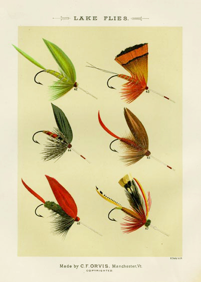"Lake Flies. Plate F. Green Weaver; Golden Pheasant; Gray Duke; Firey Brown; Grackle; Grasshopper. From ""Favorite Flies and Their Histories,"" by Mary Orvis Marbury. ""M. Bradley Co. Lith."" Text with print. Chromolithograph, 1892. Text with print. Image size 6 3/8 x 4 9/16 inches. LINK."