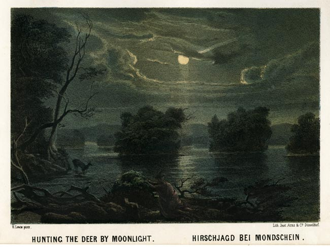 "Hunting the Deer by Moonlight. Henry Lewis. Lith. Jnst. Arnz & Co. Dusseldorf. Multi-stone lithograph, 1854-57. Image 5 3/8 x 7 3/4"" (137 x 196 mm) plus title and margins. Printed by C. H. Muller.  Aachen. LINK."