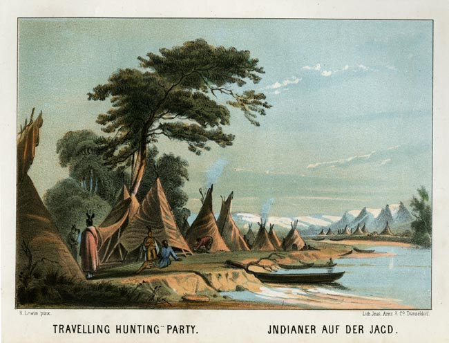 "Travelling Hunting Party. Henry Lewis. Lith. Jnst. Arnz & Co. Dusseldorf. Multi-stone lithograph, 1854-57. Image 5 3/8 x 7 3/4"" (137 x 196 mm) plus title and margins. Printed by C. H. Muller.  Aachen. LINK."
