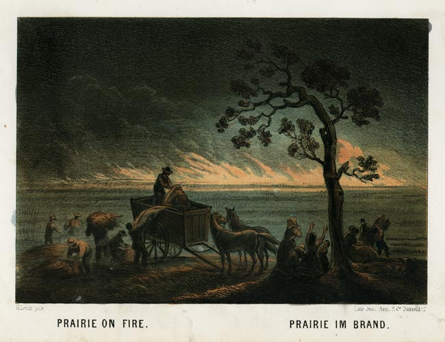 "Prairie on Fire. Henry Lewis. Lith. Jnst. Arnz & Co. Dusseldorf. Multi-stone lithograph, 1854-57. Image 5 3/8 x 7 3/4"" (137 x 196 mm) plus title and margins. Printed by C. H. Muller.  Aachen. LINK."