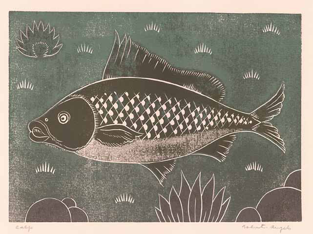 "Carp.  Valenti Angelo. Color linocut, undated. Image size 6 1/4 x 8 3/4"" (152 x 223 mm). LINK."