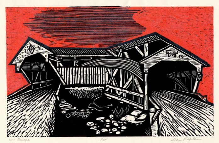 "N. H. Bridge.  Stanley Kaplan. Color linocut, 1997. Edition 25. Image size 8 1/4 x 13"" (210 x 330 mm). LINK."