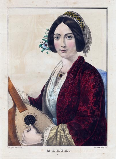 Maria. : 48. N. Currier. Lithograph, undated. Image size 12 1/4 x 8 3/4 inches. Shown seated in white dress with red cloak, hand strumming a lute. LINK.