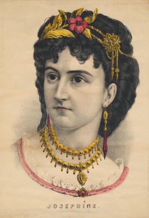 Josephine. Currier and Ives. Lithograph, undated.  Vignette 12 3/4 x 8 3/4 inches. Shown in white lace dress with pink trim, wearing a gold double-strand necklace, with dark hair swept up in a jeweled headband.