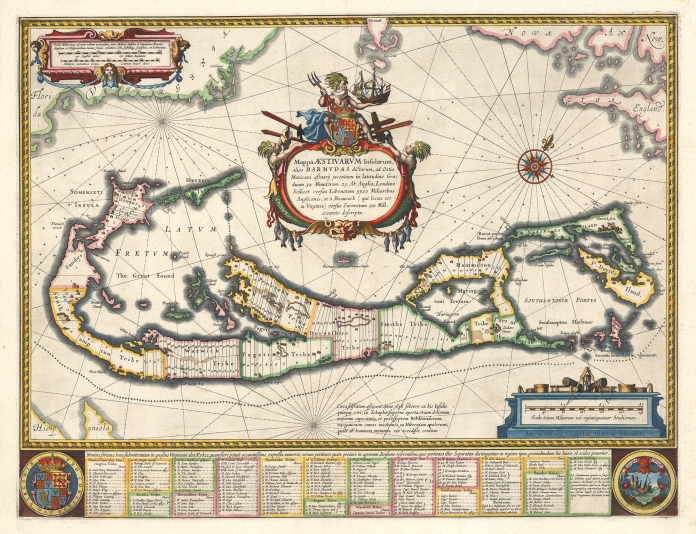 "Mappa Aestivarum Insularum Alias Barmudas Dictarum. . . . By Willem J. Blaeu. Published by W. Blaeu, Amsterdam. Handcolored copper plate engraving, c.1633. Image size 15 5/8 x 20 11/16"" (396 x 525 mm) plus margins. French text on verso. Good condition save for paper toning, slight fading and marginal mat line. Original coloring. LINK."