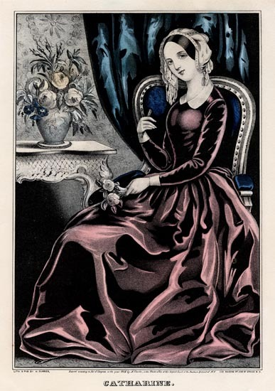 Catherine.  Nathaniel Currier. Lithograph, 1845. Image size 11 5/8 x 8 1/16 inches. A full length portrait, with Catherine shown seated in a red dress, bouquet in hand and roses in a large vase on table. LINK.