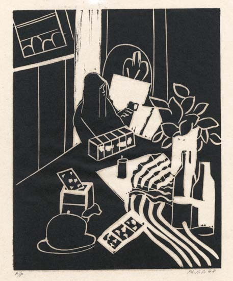 "Still Life with Top Hat & Dove in Cage. Matt Phillips. Linocut, 1978. Image size 9 15/16 x 7 15/16"" (252 x 202 mm). LINK."