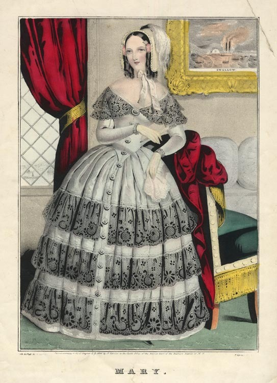 "Mary. N. Currier. Lithograph, 1845. Image size 12 x 8 5/8"". Shown in full-length lace-trimmed dress, with a picture of the S.S. Swallow on the wall behind her. LINK."