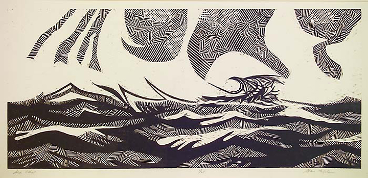 "Sea View. Stanley Kaplan. Linocut, 2005. Edition 25. Image size 8 1/4 x 17 5/8"" (206 x 345 mm). LINK."