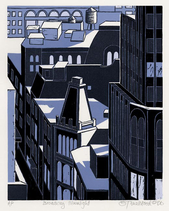 "Broadway Moonlight. Emily Trueblood. Three-block linocut, 2006.  Edition 50. Image size 10 x 8"" (255 x 203 mm). LINK."