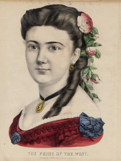The Pride of the West. Currier and Ives. Lithograph, 1870. Image size 12 x 8 inches. Portrait of woman with  a red gown and roses woven throughout her hair. LINK.