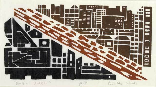 "Division Street. Richard Sloat. Three-color linocut, 1995. Edition 50. Image size 7 1/8 x 13 7/8"" (180 x 354 mm). LINK."