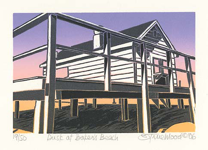 "Dusk at Baker's Beach.  [Massachusetts.]  Emily Trueblood. Three-block linocut, 2006. Edition 50. Image size 3 7/8 x 5 7/8"" (98 x 150 mm). LINK."
