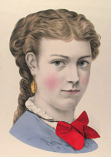 The Eastern Beauty. Currier and Ives. Lithograph, undated. Vignette 11 7/8 x 7 5/8 inches. A carefully drawn woman, adorned with a red bow at her neck. LINK.