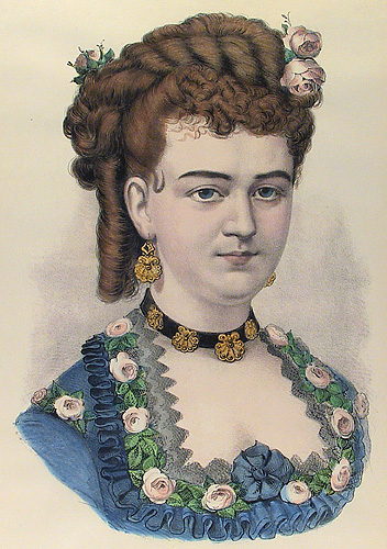 Julia. Currier and Ives. Lithograph,  undated. Vignette 12 3/8 x 9 inches. This portrait shows a more mature woman in a blue dress adorned with pink roses. LINK.