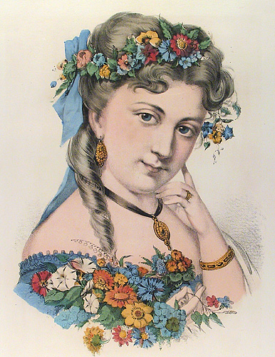 Spring. Currier and Ives. Lithograph, 1870. Vignette 12 1/2 x 9 1/4 inches.  Multicolored flowers in her hair and bouquet accent a blue dress and bow. LINK.