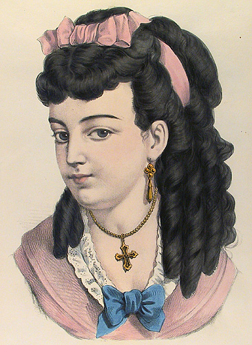 Susie. Currier and Ives. Lithograph, undated. Vignette 12 3/4 x 8 7/8 inches. A coquette with long, dark curls tied by a pink hair-bow gives a sidelong glance. LINK.
