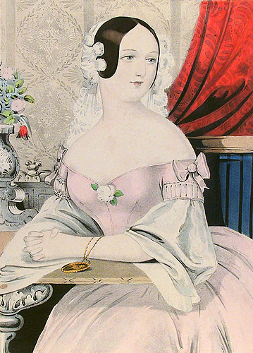 Josephine. Nathaniel Currier. Lithograph, undated. Image size 11 5/8 x 8 1/2 inches. A formal setting with gown of rose and white. LINK.
