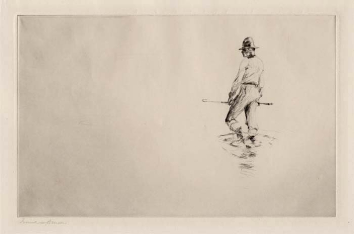 The Guide. Frank W. Benson. Drypoint, 1920. Edition 150. Image size 6 7/8 x 10 7/8