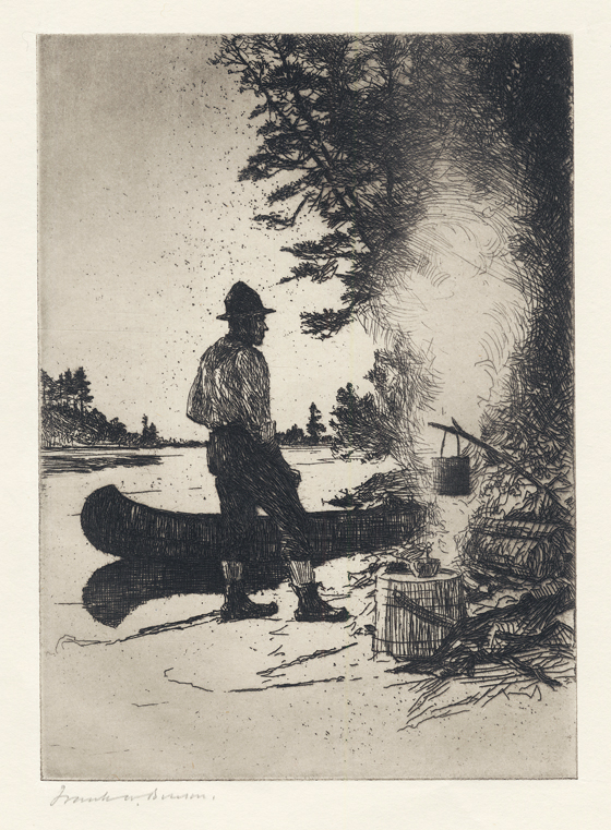 Supper. Frank W. Benson. Etching, 1920. Edition 150. One known state. Image size 6 13/16 x 5 7/8