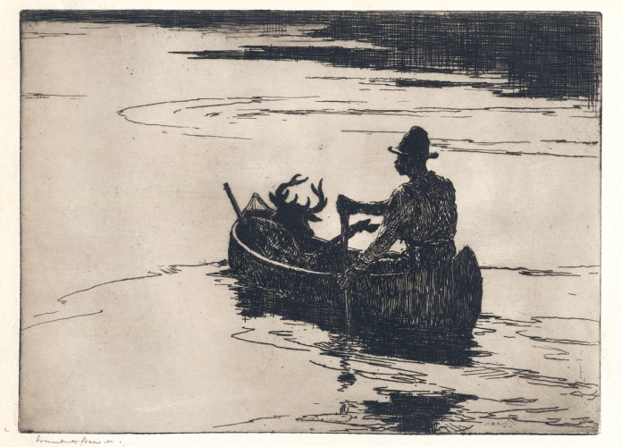 Deer Hunter. Frank W. Benson. Etching, 1924. Edition 150. Image size  7 7/8 x 10 7/8