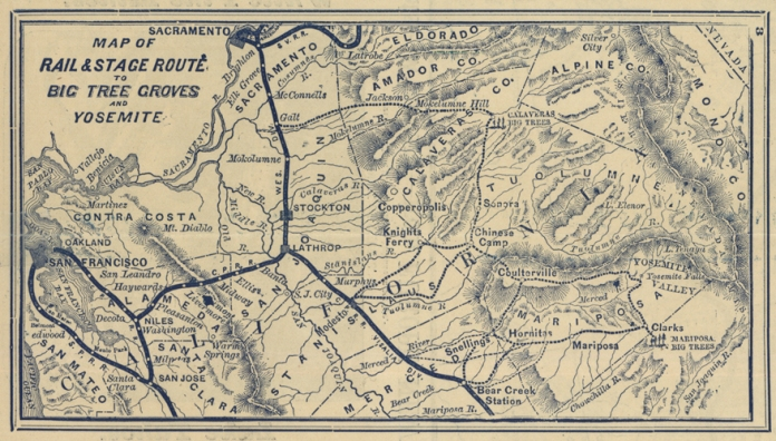 Map of the Central Pacific Railroad and its Connections.  Detail of Map of on verso, Map of the Rail & State Route to Big Tree Groves and Yosemite.  LINK