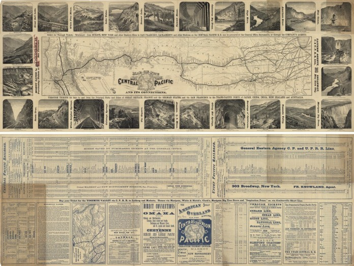Map of the Central Pacific Railroad and its Connections. Published by the California Mail Bag, August 1, 1871. Wood block engraving, 1871. Image size 12 7/8 x 35 3/8