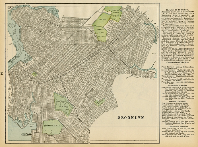"Brooklyn. Published by Geo. F. Cram, Chicago. Color rotogravure, 1898. Image size 10 1/16 x 11 1/8"", plus text and margins."
