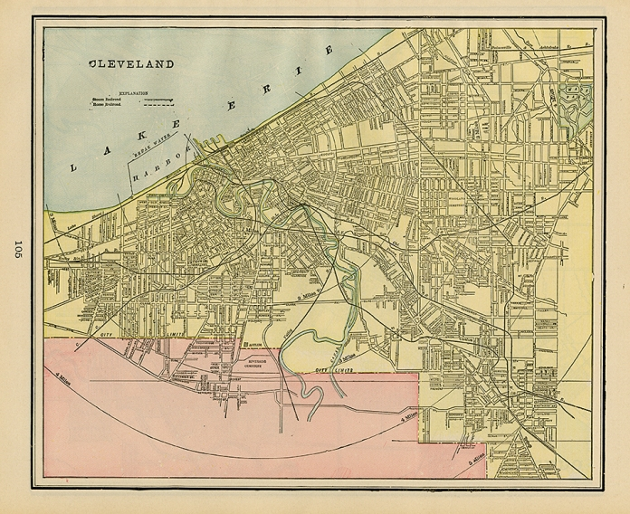 "Cleveland. Published by Geo. F. Cram, Chicago. Color rotogravure, 1898. Image size 9 7/8 x 12"". LINK."