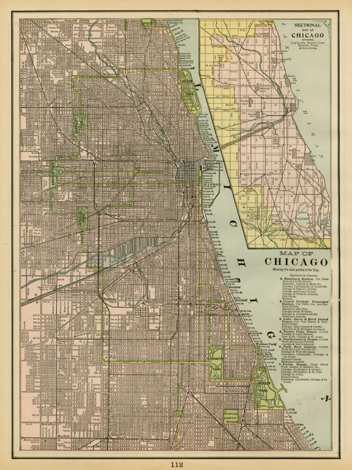 "Map of Chicago. Published by Geo. F. Cram, Chicago. Color rotogravure, 1898. Image size 13 5/8  x 10"". LINK."