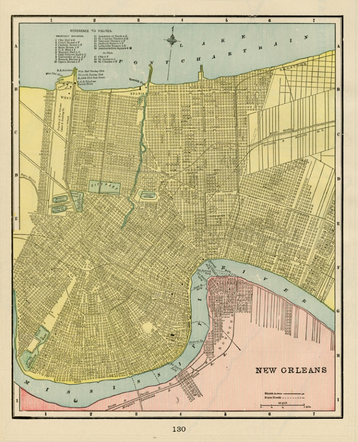 "New Orleans. Published by Geo. F. Cram, Chicago. Color rotogravure, 1898. Image size 11 1/4  x 9 3/4"". LINK."