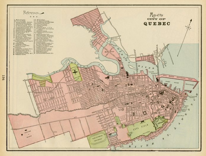 "Map of the City of Quebec. Published by Geo. F. Cram, Chicago. Color rotogravure, 1898. Image size 11 1/4  x 9 3/4"". LINK."