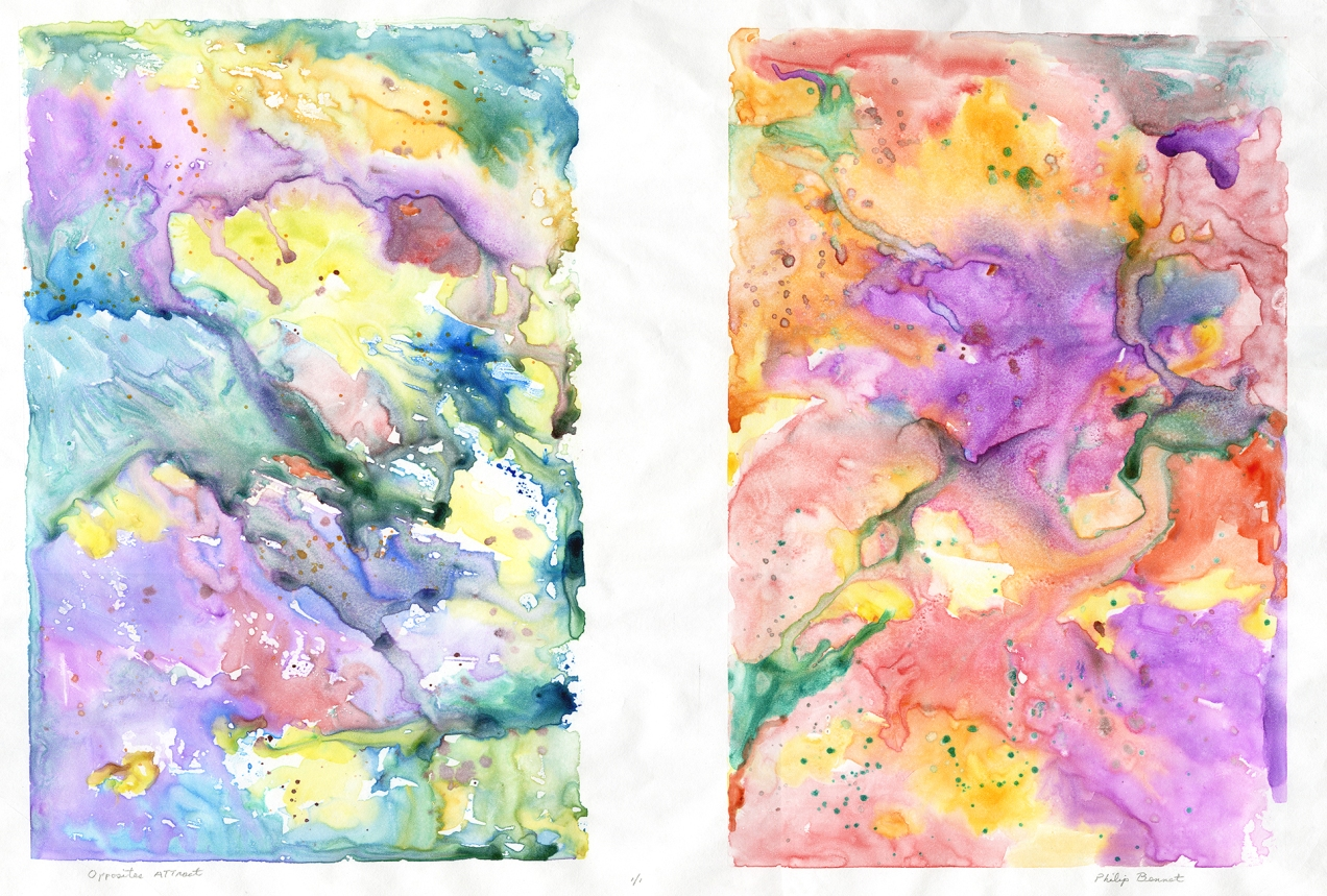 "Opposites Attract. Philip Bennet. Watercolor monotype, 2015. Diptych. Image size 17 x 25 1/4"". Edition 1/1. Signed and titled by artist in pencil. Printed on Japanese paper. LINK."