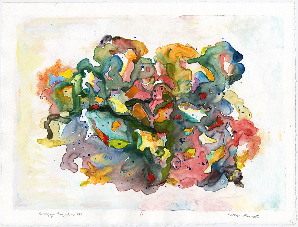 "Crazy Rhythm III.  Philip Bennet. Watercolor monotype, 2015. Image size 9 3/4 x 13 3/4"". Edition 1/1. Signed and titled by artist in pencil. LINK."