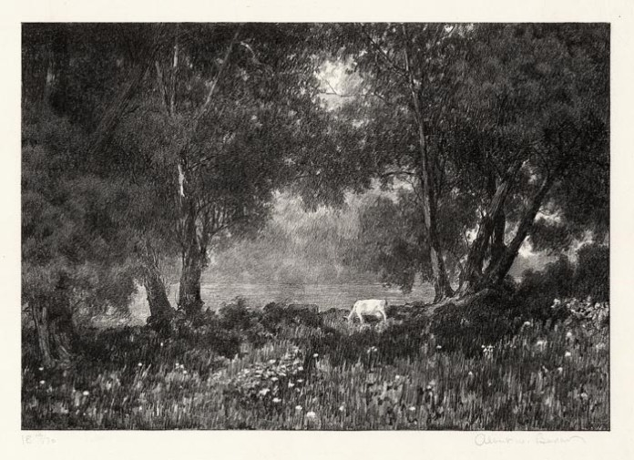 "The Enchanted Meadow. Albert W. Barker.  Lithograph, date unknown. Image size 6 3/4 x 9 13/16"" (172 x 250 mm). Edition 70. Some impressions printed in sepia ink. LINK."