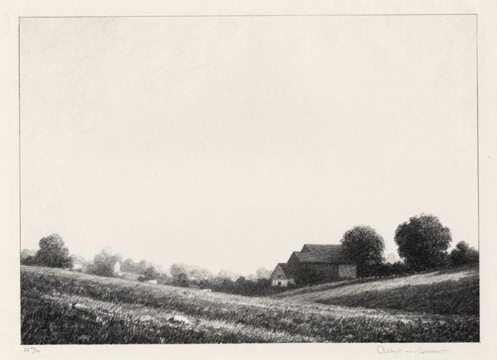 """The Upper Meadow. Albert W. Barker. Lithograph, 1929. Image size 7 13/16 x 11"""" (199 x 278 mm). Edition 76. LINK."""