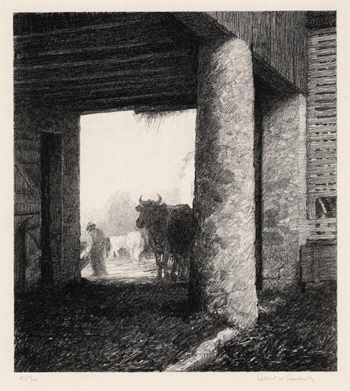 "The Barn. Albert W.  Barker. Lithograph, 1930.  Image size 8 x 7 3/16"" (203 x 182 mm). Edition 35. LINK."