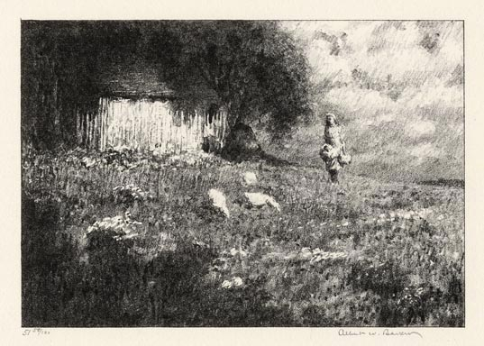 """The Outlying Farm. Albert W. Barker. Lithograph, 1930. Image size 4 3/4 x 6 7/8"""" (120 x 144 mm). Edition 100. LINK."""