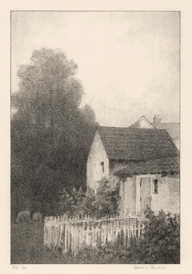 "The Sheep-house. Albert W. Barker. Lithograph, 1931. Image size 9 13/16 x 6 9/16"" (250 x 167 mm). Edition 35. Inscribed in stone lower right indistinctly ""A. W. B."" LINK."