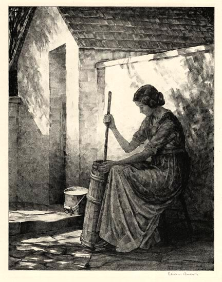 "Churning.  2nd Stone. Albert W. Barker. Lithograph, 1932. Image size 13 7/16 x 10 7/16"" (341 x 265 mm). Edition 40. Inscribed in stone lower right ""A.W.B. 1932."" LINK."