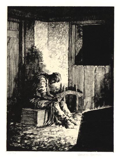 "In the Day's Work.  Albert W. Barker. Lithograph, c.1934. Image size 8 1/8 x 6"" (206 x 152 mm). Edition 59. Printed on chine colle. LINK."